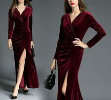 Spring Women's Sexy V Neck Open Pleated Gorgeous Velvet Evening Party Maxi Dress