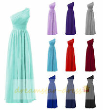 One-Shoulder Stock Chiffon Bridesmaid Dress Formal Prom Wedding Party Ball Gowns