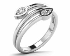 0.30Ct Pear Shape Cut Diamond Ring Designer Wedding in 9K White and Yellow Gold