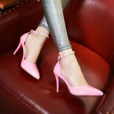 New womens high stiletto heels shoes ankle strap buckle pearl pumps Dress pointy