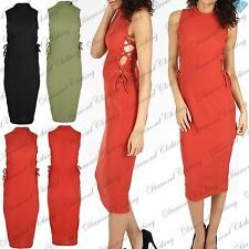 Womens Ladies Slinky Side Lace Up Ribbed Turtle Neck Midi Bodycon Dress