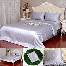 19 Momme 100% Pure Silk Duvet Cover Sheets Pillow Cases Seamless Silver All Size