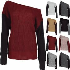 Womens Off Shoulder Contrast Sleeve Jumper Ladies Chunky Oversized Knit Top