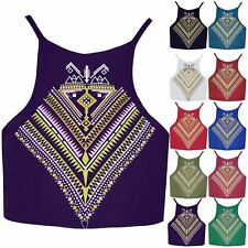 Womens Aztec Tribal Print Front Plain Crop Top Ladies Strappy High Neck Bralet