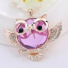 Statement Pendant Round shape Owl  necklace Chain Tide Vintage  Rhinestone Hot