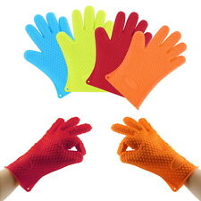 Heat Resistant Silicone Glove Oven Pot Holder Baking BBQ Cooking Mitts DE