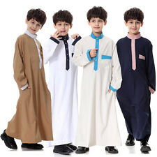 Boys Kids Thobe Jubba Qatari Collar Arab Dress Islamic Clothing Brand New