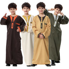Thobe Jubba Qatari Collar Arab Dress Islamic Clothing Young Boys Kids