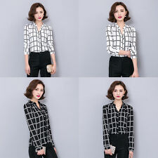 Women Fashion Summer Loose V-neck Casual Chiffon Long Sleeve T Shirt Tops Blouse