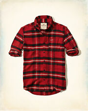 NWT Hollister by Abercrombie Mens Plaid Flannel Shirt Red/Black 100%Cotton