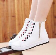 Womens Lace Up skate board  Sneakers Casual Side zipper Shoes flat ankle boots