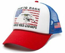 Curved Bill US Flag Eagle Back To Back World War Champs Champions Hat Cap