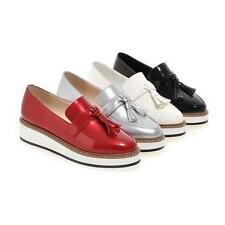 Womens Patent Leather Vintage Tassels platform Wedge heel Creeper Shoes Loafers