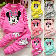 2Pcs Baby Girls Minnie Mouse Cratoon Hoodie Jumper Top+Pants Outfits Set Clothes