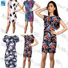 Women's Ladies Floral Round Neck Cap Sleeve Stretchy Fitted Bodycon Midi Dress