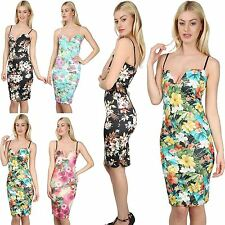 Womens Ladies Floral Strappy Sexy Cami Plunge V Neck Bralet Bodycon Midi Dress