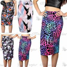Womens Ladies Floral Wiggle Tube Midi High Waisted Pencil Bodycon Fitted Skirt