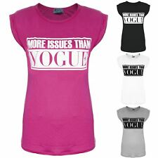 Womens Ladies Celeb More Issues Than Vogue Slogan Turn Up Cap Sleeve T Shirt Top