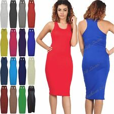 Ladies Long Stretchy Vest Womens Sleeveless Racer Muscle Back PlainMidi Dress