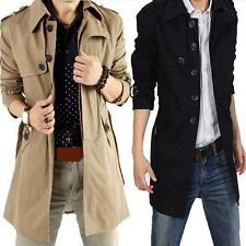 Mens Long trench Single-breasted Slim Fit Coat Outwear Parka Chic Jackets M-6XL