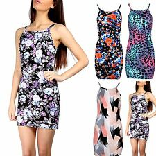 New Womens Floral Roses High Square Neck Strappy Camisole Fit Bodycon Midi Dress