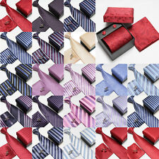 New Style Men's 100% Silk Jacquard Woven Neckties Tie+Hanky+Cufflinks Sets