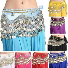 Belly Dance Costume Hip Scarf Tribal Hip Wrap Belt Skirt Pants Velvet Gold coins