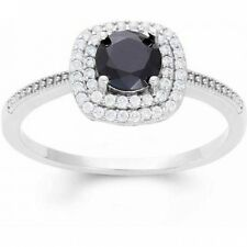 Black CZ 6mm with White CZ Double Halo Sterling Silver Ring. Brand New