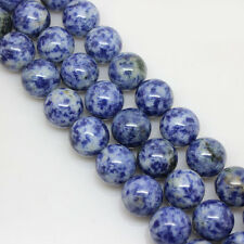 4/6/8/10/12MM Natural Blue Spot Round Gemstone Loose Spacer Stone Beads Finding