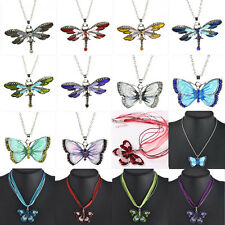 Women Charms Jewelry Enamel Butterfly Crystal Silver Pendant Necklace Chain