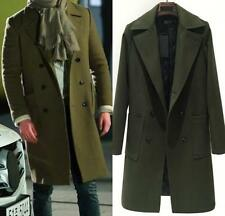 Mens Cashmere Woolen Double-breasted Long Slim trench Lapel Collar Coats Jacket