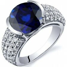 Oravo 5.25 Carat T.G.W. Created Blue Sapphire Rhodium-Plated Sterling Silver Eng