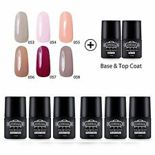 8pcs Soak off Gel Nail Polish Set Base Top Coat UV Led Nail Art Lacquer  6.5 ml