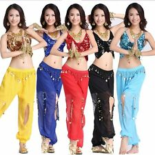 Belly Dance Costume Set Tribal Indian Sequin Bra Top & Harem Pants Skirt Outfit