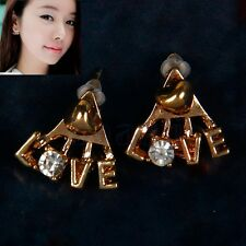 Korean Fashion Shiny Rhinestone Earrings Delicate Letters LOVE Stud Earrings MA