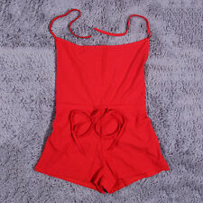 Summer Hot Sell Woman Backless Halter Neck Waist Lace Jumpsuit Pants Red O4