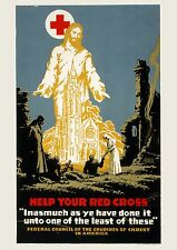 Art print POSTER 1917-RED-Help your Red Cross