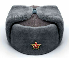 AUTHENTIC SOVIET RUSSIAN RED ARMY USHANKA WINTER HAT  ALL SIZES SHOOSE A 5 BADGE