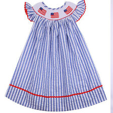 Girls Dress Blue Striped Smocked American Flags Dress NWT Babeeni Infant Toddler
