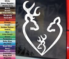 "DEER HUNTER HEART SHAPE FAMILY w BOY buck or GIRL doe 6.5"" VINYL STICKER DECAL"