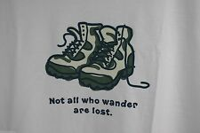 NWT Life is Good T Shirt Hiking Boots Hike NOT ALL WHO WANDER ARE LOST