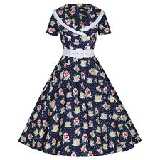 Navy Blue Polka Dot Rose Print Belted Rockabilly Cocktail 50s Prom Swing Dress