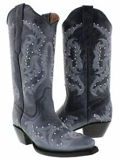 Womens Denim Blue Studded and Stitched Leather Western Cowboy Boots Snip Toe