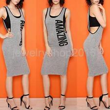 Women U Neck Sleeveless AMAZING Letters Print Party Bodycon Casual Summer Dress