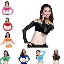 Belly Dance Lace Bra Tops Diamond Long Sleeve Blouse Dancing Tribal Costume Top