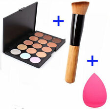 15 Colors Contour Face Cream Makeup Concealer Palette Sponge Powder Brush DE