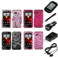 For HTC Droid Incredible 4G LTE Diamond Diamante Rhinestone Case Headphones