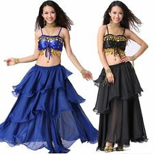 Professional Belly Dance Costumes Set Performance Wave Dress 2PCS Top Bra Skirt
