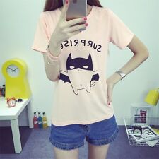 Women T Shirt Printed Tee Lovely Short Sleeve Top O Neck Bottoming 4 Color