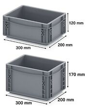 300 x 200 Euro Stacking Heavy Duty Plastic Storage Containers Boxes Crates GREY